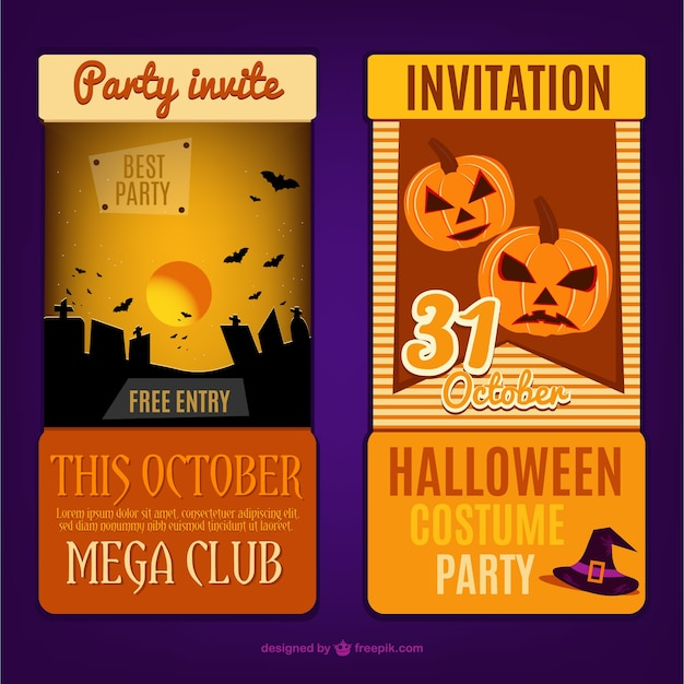 Card Invitation Template For Halloween Party Free Vector
