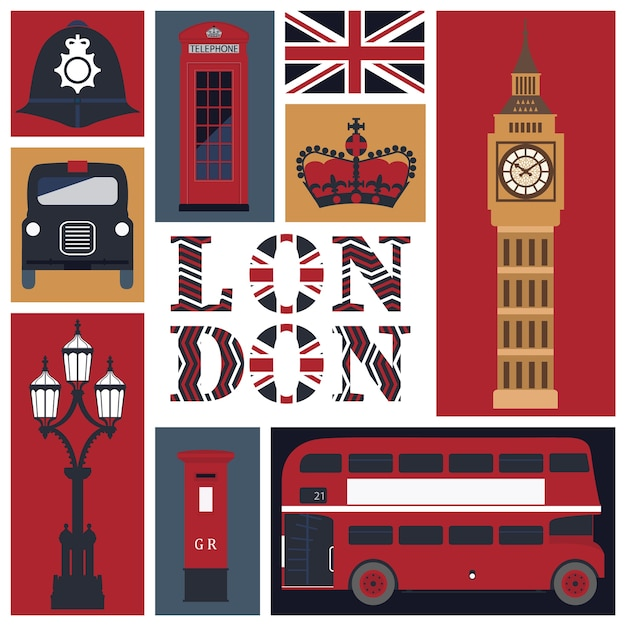 Card of london's symbols Premium Vector