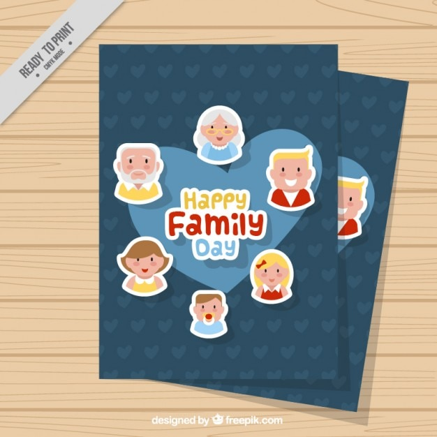 Card of family day with a blue heart