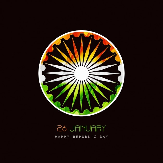 Card of Indian Republic Day with Ashoka Chakra