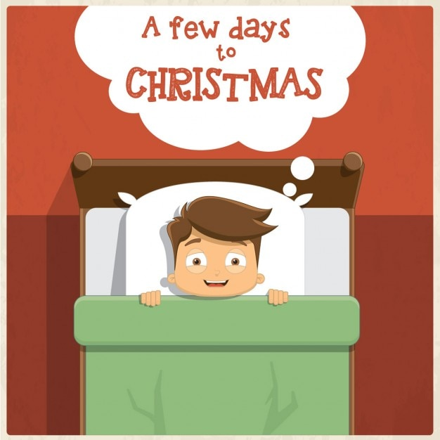 Card of kid waiting nervous for christmas Free Vector