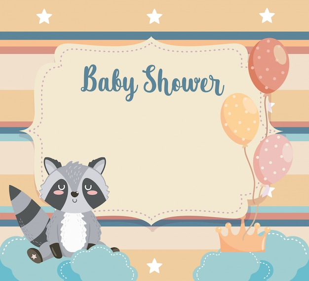 Card of raccoon animal with balloons and clouds Free Vector