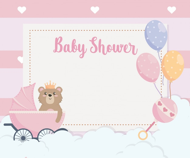 Card of teddy bear and balloons with carriage Free Vector