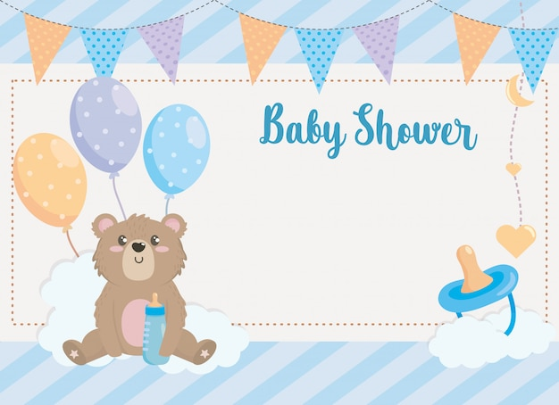 Card of teddy bear with party banner and pacifier Free Vector