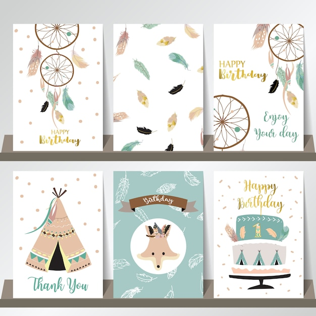 Card template collection for banners Premium Vector