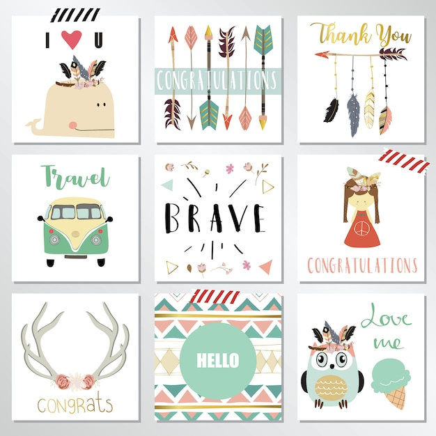 Card template collection with feather Premium Vector