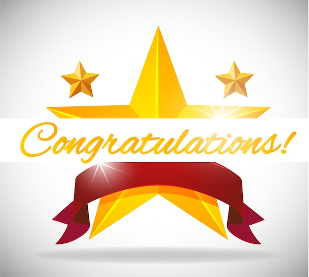 Card template for congratulation with stars background Free Vector
