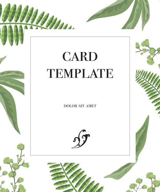 Card template design with frame and greenery pattern on white background. Free Vector