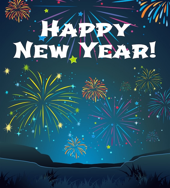 card template for new year with firework background free vector