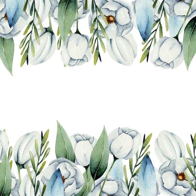 Шаблон карты акварель белые цветы анемона границы Premium векторы