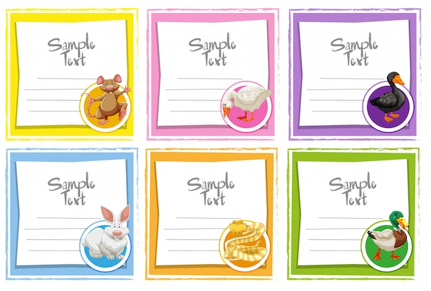 Card template set with different animals Free Vector