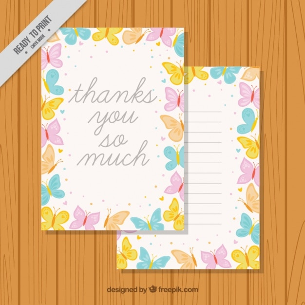 Card template with butterflies border