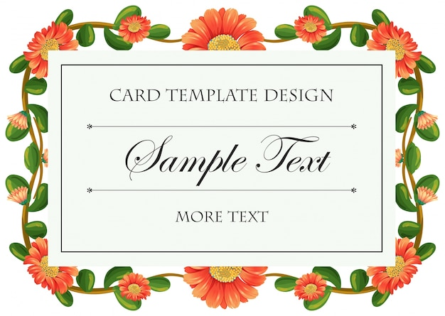 Card template with calendula flowers frame Free Vector