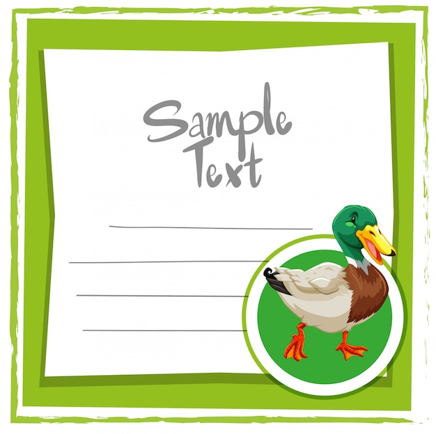 Card template with cute duck Free Vector