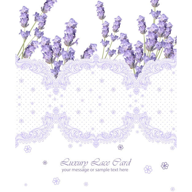 card template with lavender frame vector free download