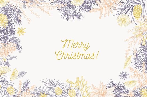 Шаблон карты с надписью merry christmas и рамкой из хвойных веток Premium векторы