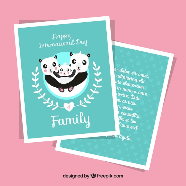 Card template with pandas for international\ family day