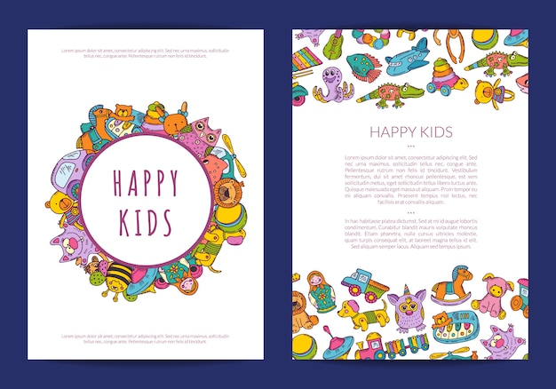 Card template with place for text and hand drawn children toys Premium Vector