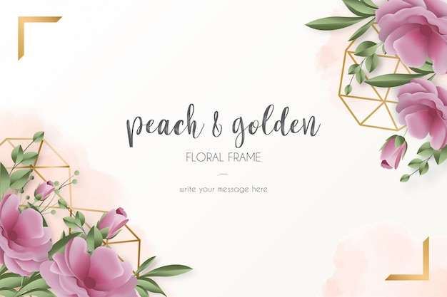 Card template with realistic flowers Free Vector