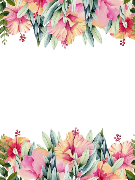 Card template with watercolor hibiscus flowers Premium Vector