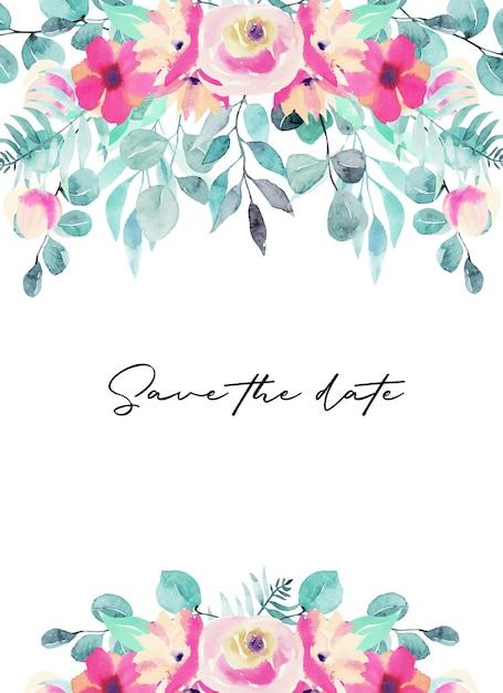 수채화 핑크 꽃, 야생화, 녹색 잎, 가지와 유칼립투스 카드 템플릿 프리미엄 벡터