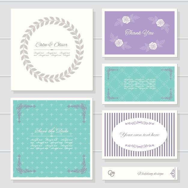 Card templates for wedding or birthday design. Premium Vector