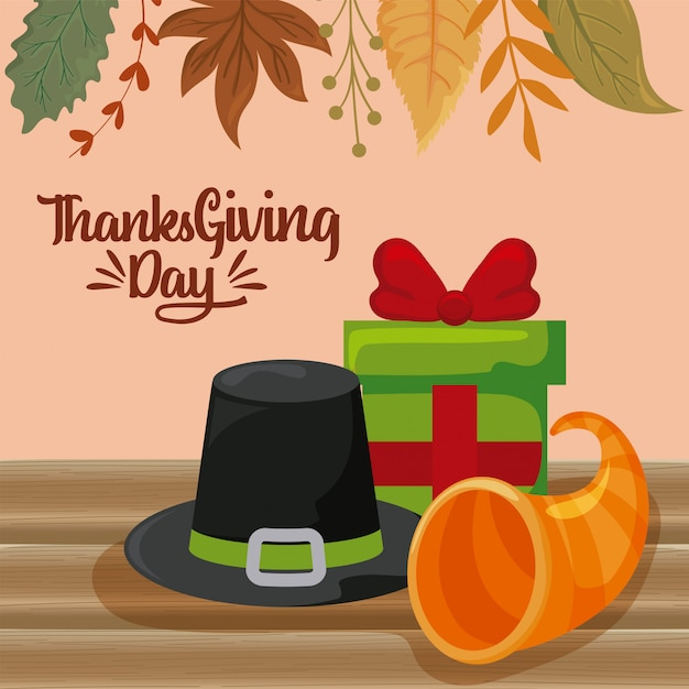 Card of thanksgiving day Premium Vector