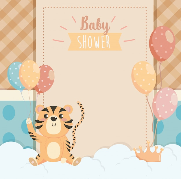 Card of tiger animal with balloons decoration and clouds Free Vector