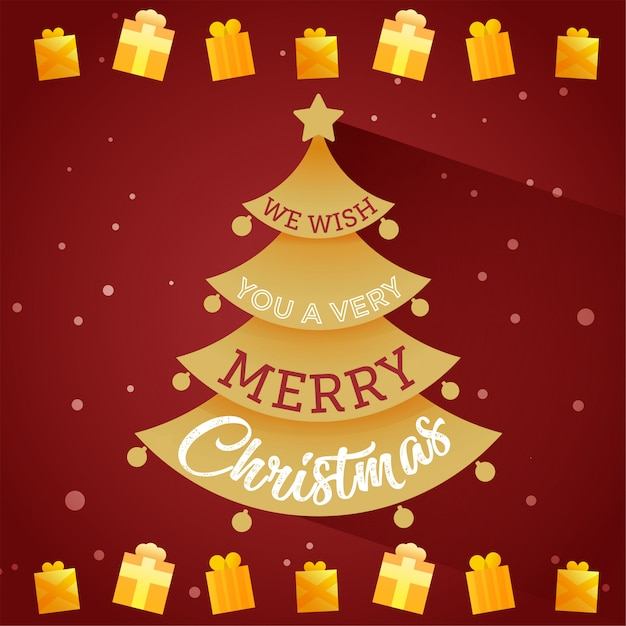 Card tree with merry christmas Premium Vector