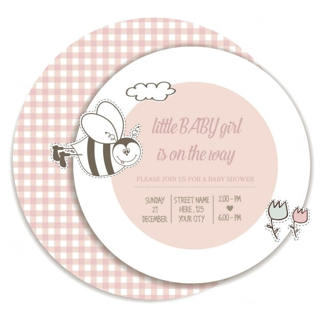 Card with a cute bee, baby shower