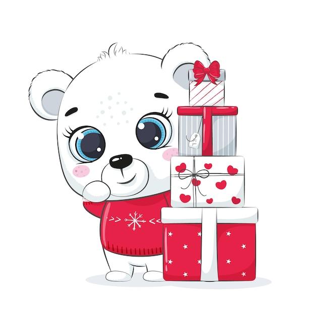ホッキョクグマとギフトボックス付きのカード。メリークリスマスデザイン。 Premiumベクター