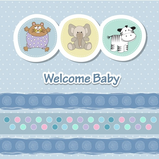 Card with animals for baby shower Free Vector