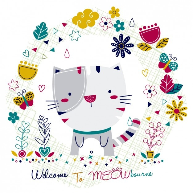 Card with cat and floral frame Free Vector