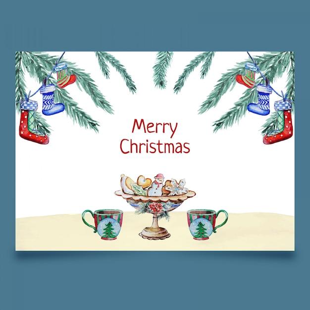 Card with christmas decotation Premium Vector