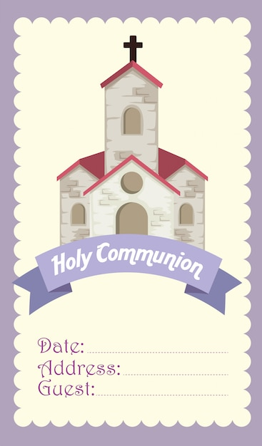Card with church and cross to religion event Free Vector