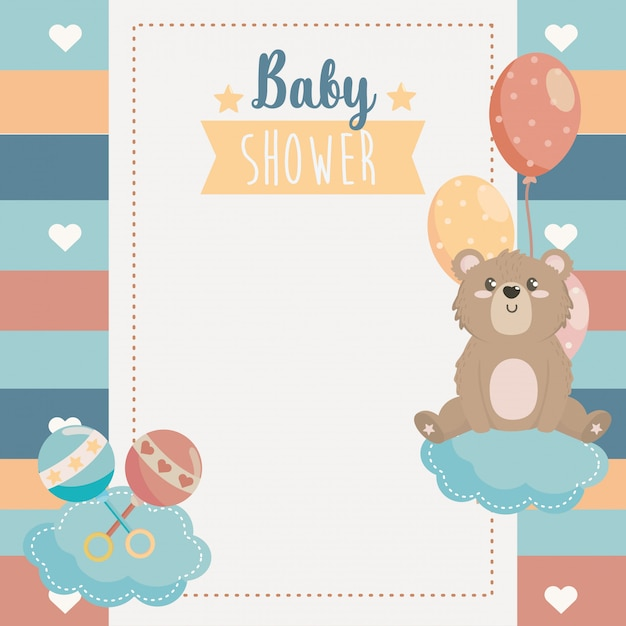 Card with cute beard animal and rattles Free Vector