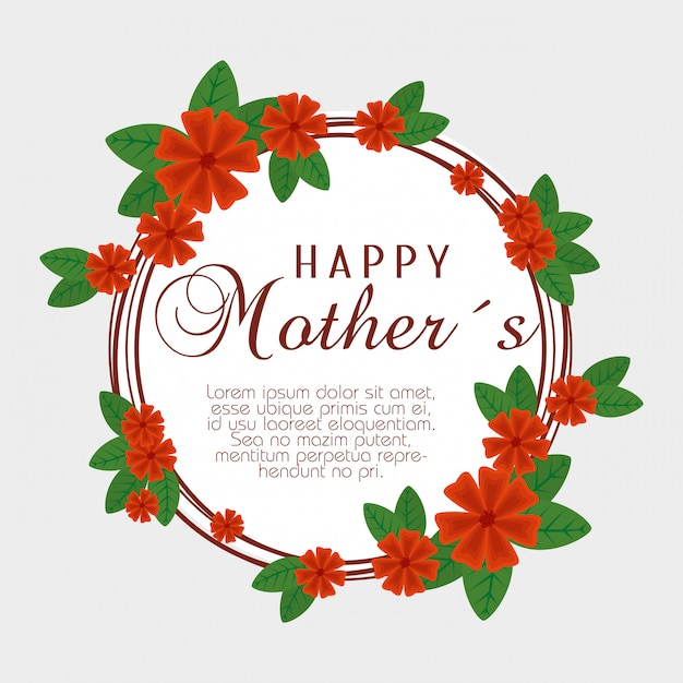 Card with flowers and branches leaves to mothers day Free Vector