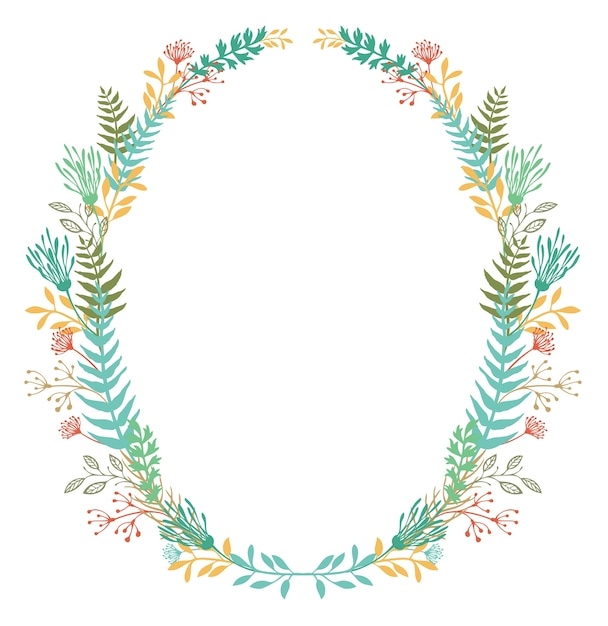 Card with frame of flowers and ferns Free Vector
