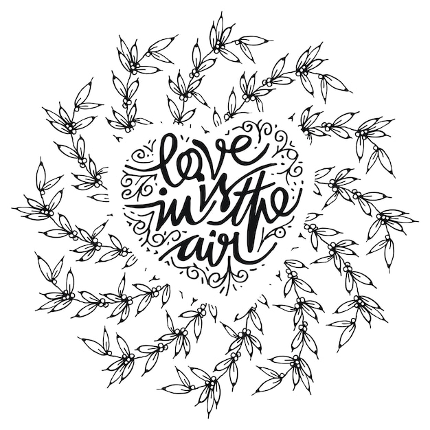Card with frame of flowers, love in is the air Premium Vector