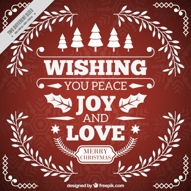 Card with inspiring christmas message of peace and love Vector ...