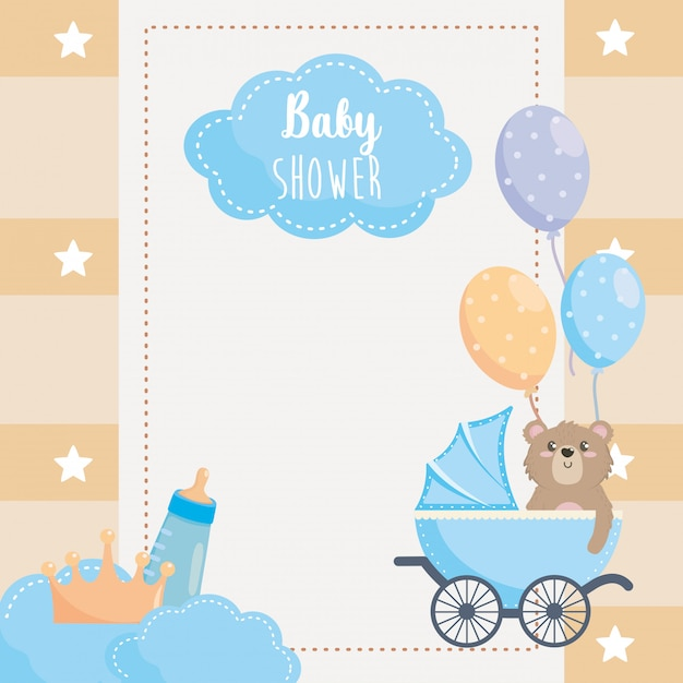 Card with label and teddy bear with feeding bottle Free Vector