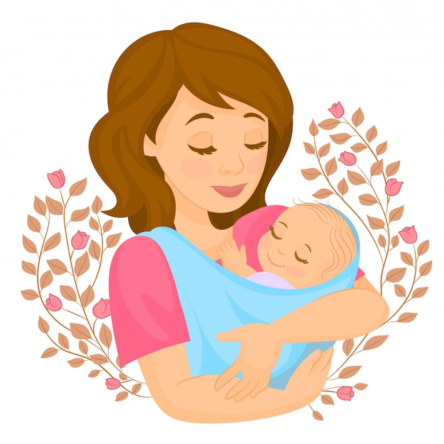 Card with mother and child in flowers Premium Vector