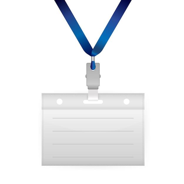 白い背景の上の名前タグamptyのカード。 。空白の名刺。 Premiumベクター