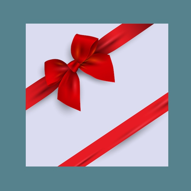 Card with realistic red bow Premium Vector