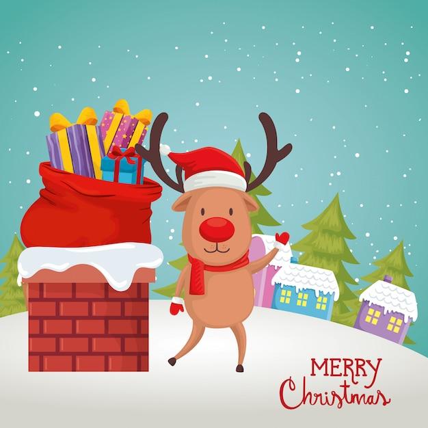 Card with reindeer in scene christmas Free Vector