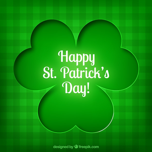 Card with a shamrock for saint patrick Free Vector