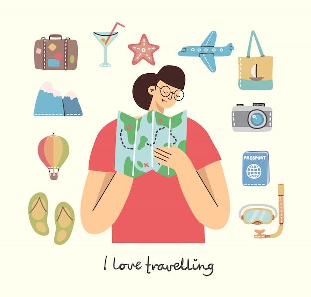 Карточка с женщиной с карты и путешествия и летние каникулы связанные объекты и значки. для использования на плакатах, баннерах, карточках и шаблонах. Premium векторы
