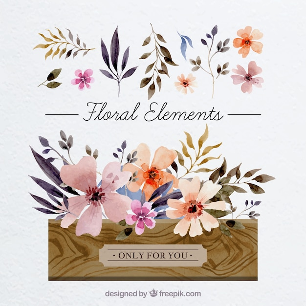 card with watercolor floral elements vector free download
