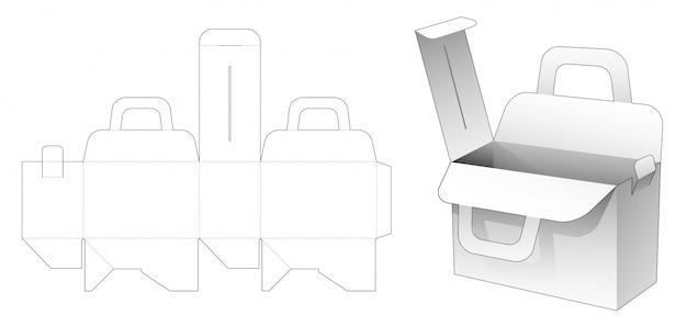 Cardboard bag box die cut template Premium Vector