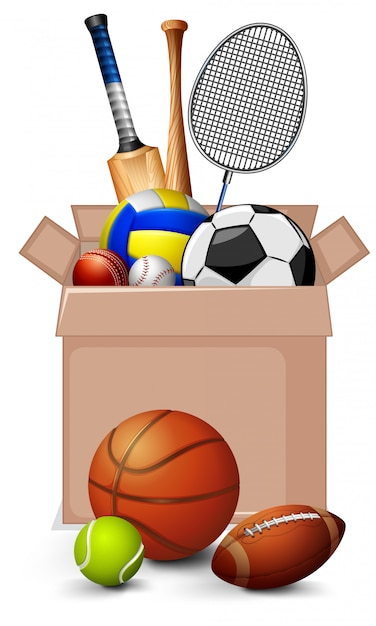 Cardboard box full of sport equipments on white background Free Vector
